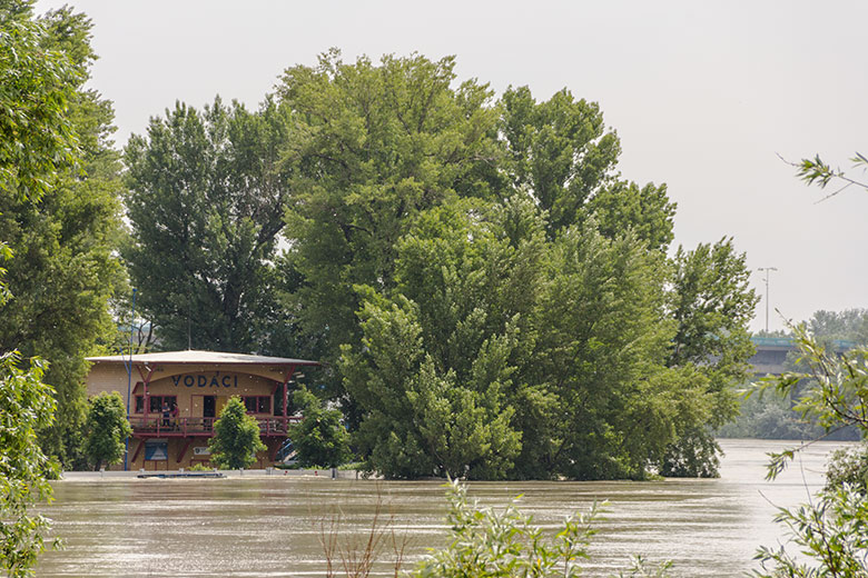 Tatran boathouse during floods in 2013, The Danube River, Bratislava