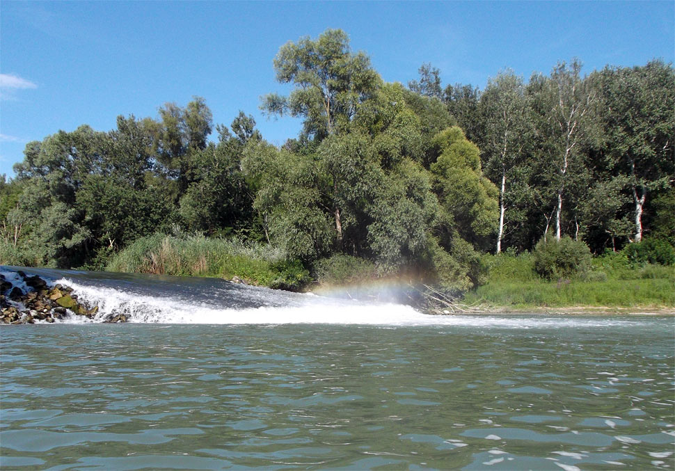 Rainbow weir in the Danube River branches