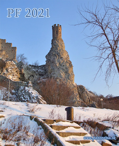 New Year Card, The Devin Castle, Panenska Veza Tower