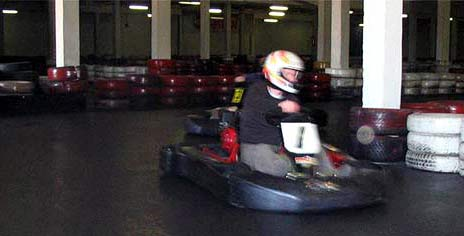 Go karting in a hall