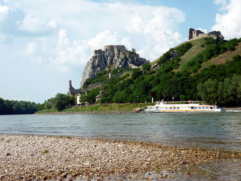 Sightseeing cruise on the Danube River below Devin Castle