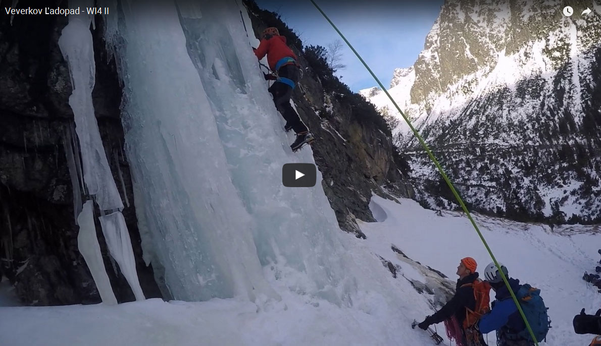 Climbing of Veverkov Ladopad Icefall in the High Tatras